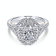 Venetia 14k White And Rose Gold Oval Double Halo Engagement Ring angle 1