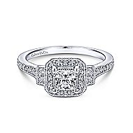 Venus 14k White Gold Princess Cut 3 Stones Halo Engagement Ring angle 1
