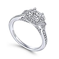 Venus 14k White Gold Princess Cut 3 Stones Halo Engagement Ring angle 3