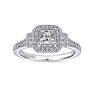 Venus 14k White Gold Princess Cut 3 Stones Halo Engagement Ring angle 5