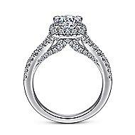 Verbena 14k White Gold Round Halo Engagement Ring angle 2