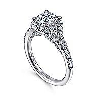 Verbena 14k White Gold Round Halo Engagement Ring angle 3