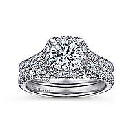 Verbena 14k White Gold Round Halo Engagement Ring angle 4