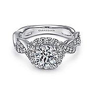 Verona 18k White Gold Round Halo Engagement Ring angle 1
