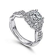 Verona 18k White Gold Round Halo Engagement Ring angle 3