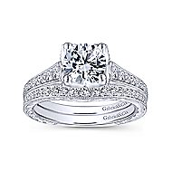 Veronica 14k White Gold Round Straight Engagement Ring angle 4