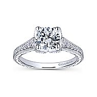Veronica 14k White Gold Round Straight Engagement Ring angle 5