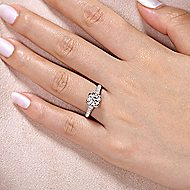 Veronica 14k White Gold Round Straight Engagement Ring angle 6