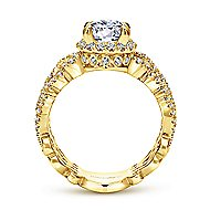 Vibrant 18k Yellow Gold Round Halo Engagement Ring