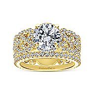 Vibrant 18k Yellow Gold Round Halo Engagement Ring angle 4