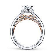 Victoria 14k White And Rose Gold Round Straight Engagement Ring