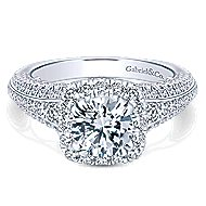 Vienna 14k White Gold Round Halo Engagement Ring angle 1