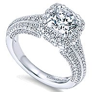 Vienna 14k White Gold Round Halo Engagement Ring angle 3