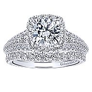 Vienna 14k White Gold Round Halo Engagement Ring angle 4