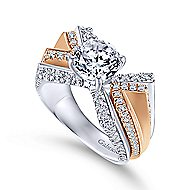 Villa 14k White And Rose Gold Round Split Shank Engagement Ring angle 3