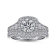Vintage 14K White Gold Cushion Halo Round Diamond Engagement Ring
