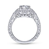 Vintage 14K White Gold Octagonal Halo Round Diamond Engagement Ring