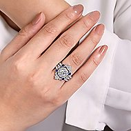 Vintage 14k White Gold A Quality Sapphire and Diamond Enhancer