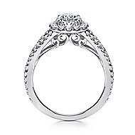 Viola 18k White Gold Oval Halo Engagement Ring angle 2