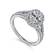Viola 18k White Gold Oval Halo Engagement Ring angle 3