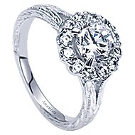 Viva 18k White Gold Round Halo Engagement Ring