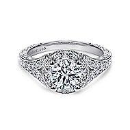 Vivian 14k White Gold Round Halo Engagement Ring angle 1