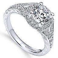 Vivian 14k White Gold Round Halo Engagement Ring angle 3