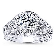 Vivian 14k White Gold Round Halo Engagement Ring angle 4