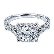 Vivid Platinum Round Halo Engagement Ring angle 1