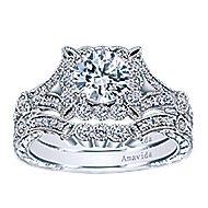 Vivid Platinum Round Halo Engagement Ring angle 4