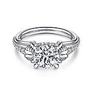 Wanda 18k White Gold Round Straight Engagement Ring