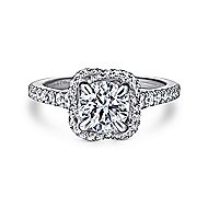 Warner 14k White Gold Round Halo Engagement Ring
