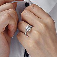 Warner 14k White Gold Round Halo Engagement Ring
