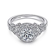 Whitney 14k White Gold Round Halo Engagement Ring angle 1