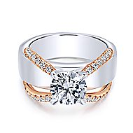 Willa 18k White And Rose Gold Round Straight Engagement Ring angle 1