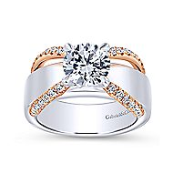 Willa 18k White And Rose Gold Round Straight Engagement Ring angle 5