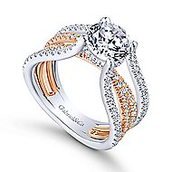 Wilma 18k White And Rose Gold Round Twisted Engagement Ring angle 3