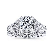 Windsor 14k White Gold Round Halo Engagement Ring angle 4