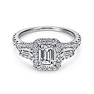 Winslow 14k White Gold Emerald Cut Halo Engagement Ring angle 1