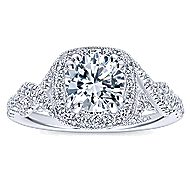 Wisteria 14k White Gold Round Halo Engagement Ring angle 5