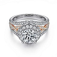 Wren 18k White And Rose Gold Round Halo Engagement Ring angle 1