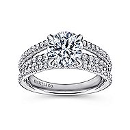 Wynn 18k White Gold Round Straight Engagement Ring angle 5