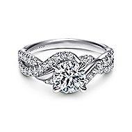 Xiomara 14k White Gold Round Twisted Engagement Ring angle 1