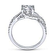 Xiomara 14k White Gold Round Twisted Engagement Ring angle 2