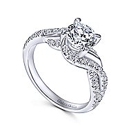 Xiomara 14k White Gold Round Twisted Engagement Ring angle 3