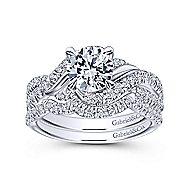 Xiomara 14k White Gold Round Twisted Engagement Ring angle 4