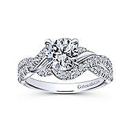 Xiomara 14k White Gold Round Twisted Engagement Ring angle 5