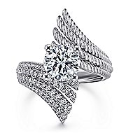 Yara 14k White Gold Round Split Shank Engagement Ring angle 1