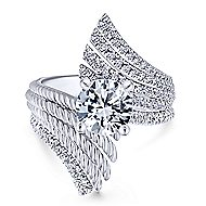 Yara 14k White Gold Round Split Shank Engagement Ring angle 4
