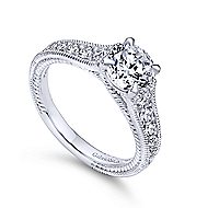 Yara 14k White Gold Round Straight Engagement Ring angle 3
